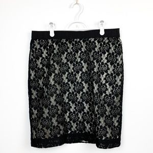 Alfred Sun Floral Lace Pencil Skirt